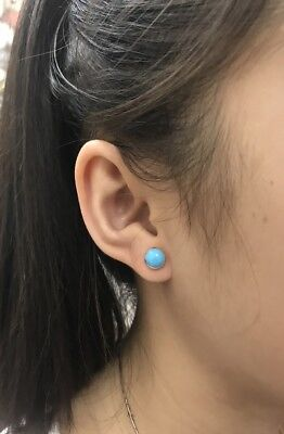 Round Turquoise Stud (6mm Round Blue Sleeping Beauty Turquoise 925 Sterling Silver Stud Earrings)