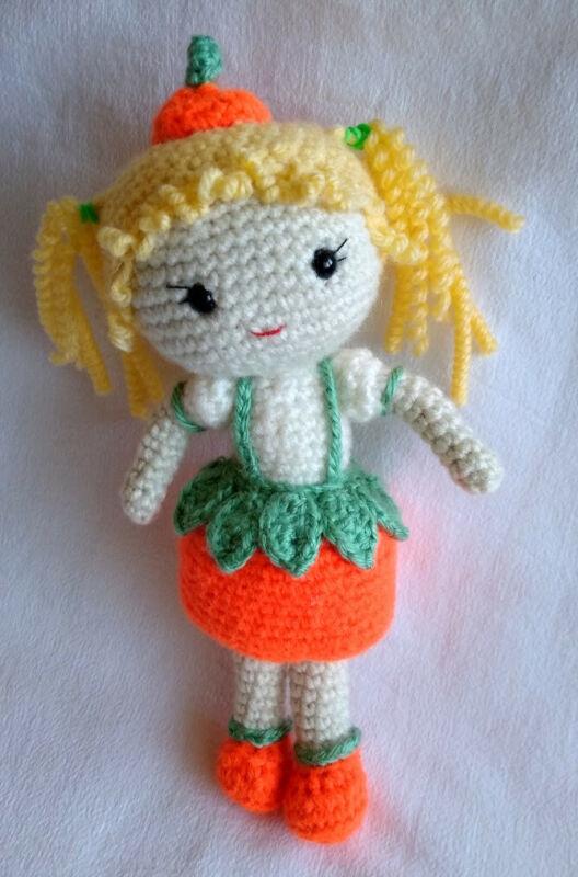 Handmade Crochet Autumn Pumpkin Girl Doll /Toy/Gift