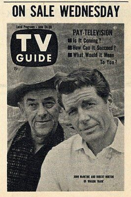 1961 TV GUIDE AD~ROBERT HORTON & JOHN McINTIRE STARS IN WAGON TRAIN WESTERN