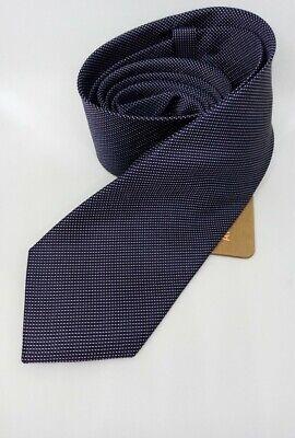 Cravatta uomo seta fantasia da classica larga elegante in sartoriale di 7 cm blu