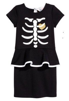New H&M Halloween Dress With Skeleton Motif Size 4-6Y - H&m Halloween