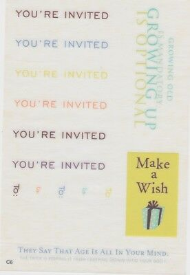 YOU'RE INVITED, BIRTHDAY Rub On Colored Quotes Scrapbooking