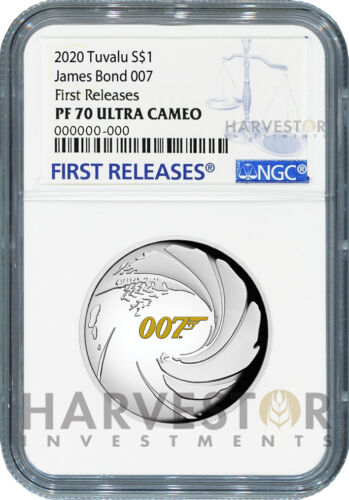 2020 JAMES BOND 007 - HIGH RELIEF - 1 OZ. SILVER COIN - NGC PF70 FIRST RELEASES