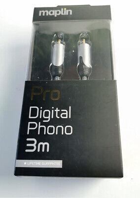 Pro Digital Audio Coax Cable 3m Phono Terminals Gold Dual-Layer Alu Maplin