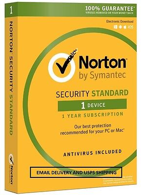 Norton Security Standard 3.0 2016 - 1 Device - Email Delivery - USPS Delivery