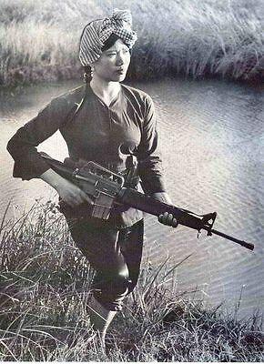 Vietnam War North Vietnamese Female Soldier Old Photo 8.5x11 Rare Photo
