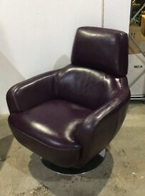 Leather Armchair - Purple with swivel base