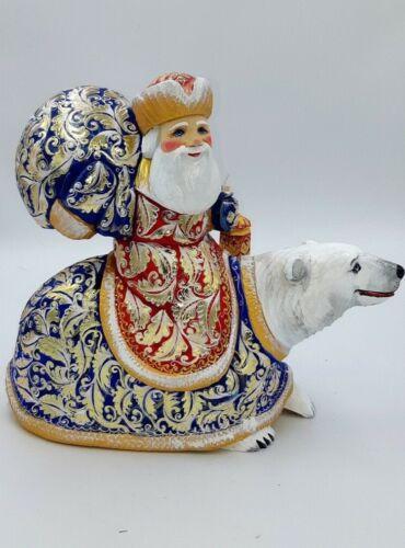 "11"" Height Wooden Carved Santa Claus On Polar Bear Home Decor"