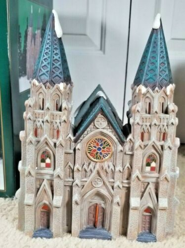 "Heartland Valley Village Porcelain Lighted Double Spire Cathedral Church 11""Tall"