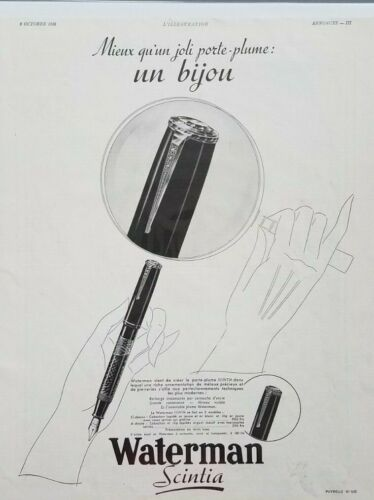 1938 Waterman Scintia Fountain Ink Pen French Advertising Print Ad