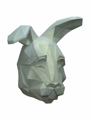 Low-Poly Polygon White Rabbit Adult Latex Mask 3D Cosplay Costume Accessory New