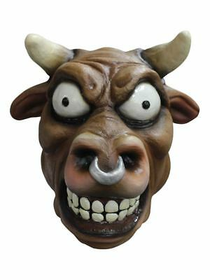 Cartoon Bull Toro Latex Mask Animal Horns Halloween Adult Costume Accessory New