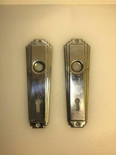 (2) VINTAGE, BRASS DOOR LOCK ESCUTCHEONS