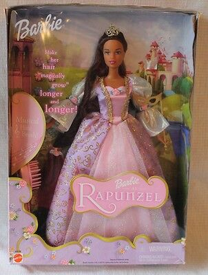 BARBIE DOLL as RAPUNZEL- Musical Hairbrush- Hair Magically Grows 2001 NEW! 55533