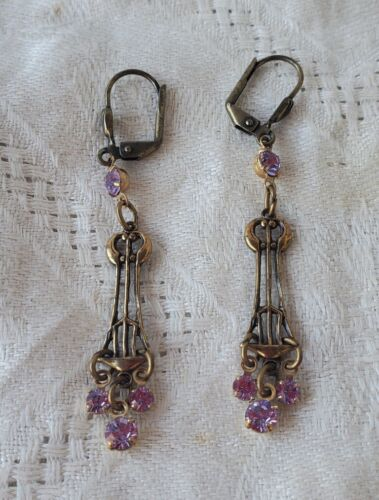 Antique Art Nouveau Dangle Earrings with Beautiful Amethyst Purple Crystals