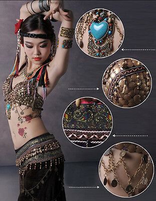 Neu! D025 Tribal Vintage Bauchtanz Kostüm Fasching Karneval Belly Dance Costume