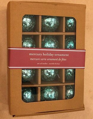 Aqua Blue Mercury Crackle Glass Christmas Ornaments 2  Kugel New Vintage Set  12