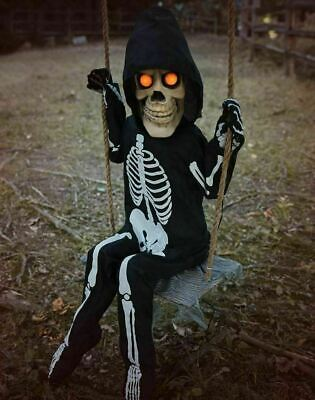 Halloween 3 Ft Swinging Lil Skelly Bones Animated Skeleton Prop Spirit Store