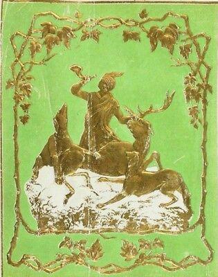 Embossed Dresden Fabric Label Elk Hunting Scene Man Horn Dogs Toga P55