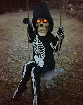 3 Ft Swinging Lil Skelly Bones Animatronics - Halloween Decorations Prop - Skelly Bones