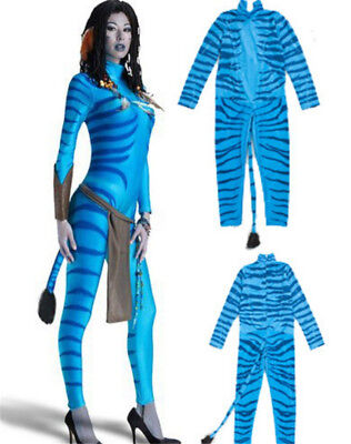 Women Sexy Cos Avatar Bodysuit Jumpsuit Stage Costume Evening Show Masque + Tail (Avatar Costume Women)