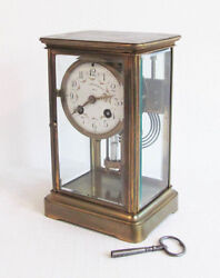Antique 1900  French Samuel Marti Brass 4 Glass Panel Regulator Mantel Clock