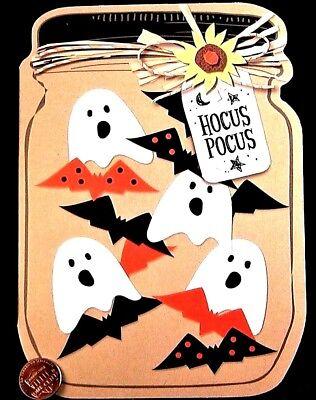 Cute Ghosts Bats Mason Jar Daisy Hocus Pocus Candy - Halloween Greeting Card NEW - Cute Halloween Bats