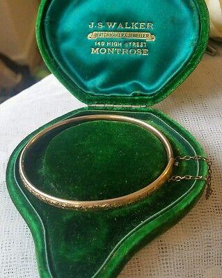 Victorian Etched Bracelet Rolled Gold with Velvet Box Antique Bracelet