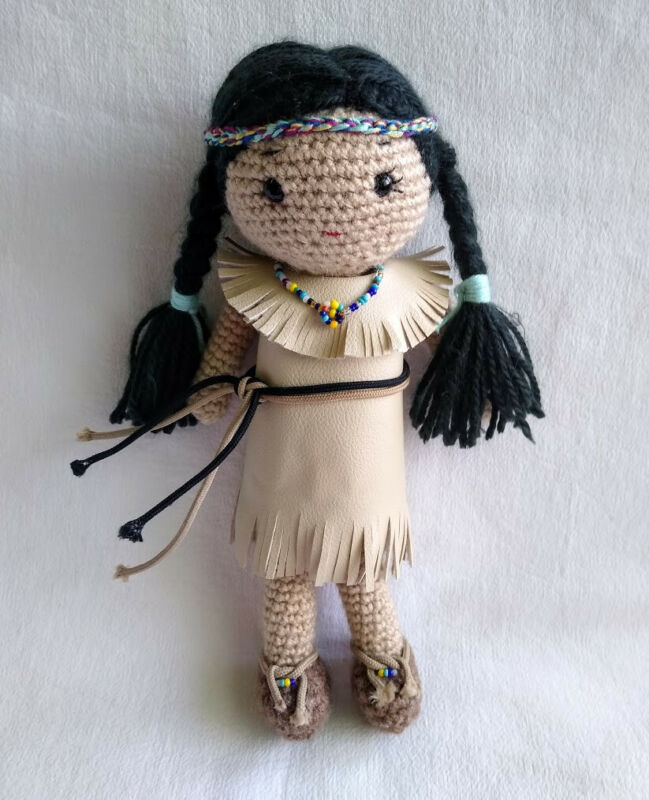 Handmade Crochet Native American Doll Toy/Gift