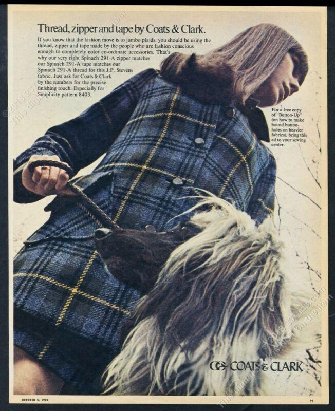 1969 Afghan Hound photo Coats & Clark thread zipper tape vintage print ad