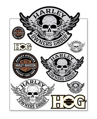 Harley Owners Group  Hog  Skull Decal Sheet  Ships International