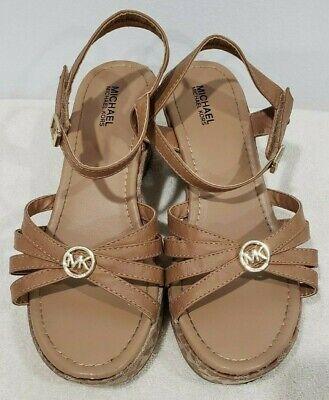 Girls MICHAEL KORS Tan Signature Logo Wedge Sandal Size 3