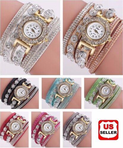 New Fashion Womens Stainless Steel Watch Bling Rhinestone Bracelet Wrist Watch Jewelry & Watches