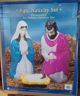NATIVITY 3 PIECE LIGHTED OUTDOOR CHRISTMAS SCENE HOLY FAMILY PLASTIC BLOW MOLDS.