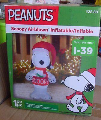 PEANUTS SNOOPY Gemmy Disney Airblown Inflatable Figure Lighted 5 Ft NIB