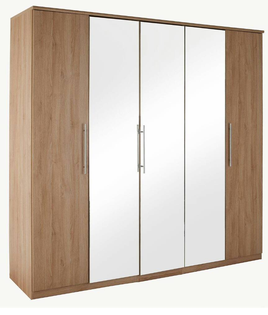Prague 5 door mirrored wardrobe new oak effect height for Door z prague