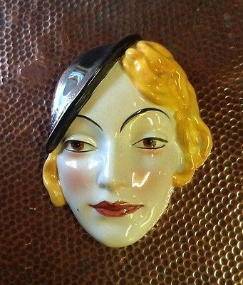 Cope & Co Art Deco Lady Wall Mask  1930s rare