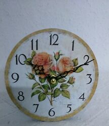 Table Clock Fireplace Clock Country House Style Roses Shabby Chic Small MDF
