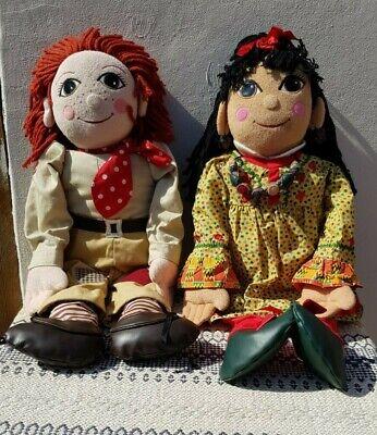 Vintage Rosie and Jim plush rag dolls, 30inch