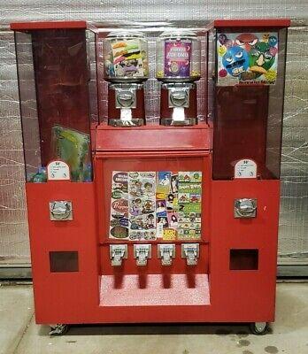 Coin Op Vending 5 Bulk Candytoy Machines Plus Tattoosticker Machine On Rack