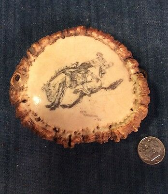 Awesome Signed Ken Anderson '86 Scrimshaw Bronco Elk Antler Burr Belt Buckle
