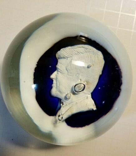 St. Clair Art Glass John F. Kennedy Profile Paperweight Blue/White -Rare