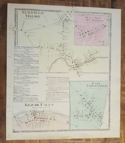 Antique Colored MAP - NEWFIELD VILLAGE, MAINE - / Atlas York County, ME - 1872
