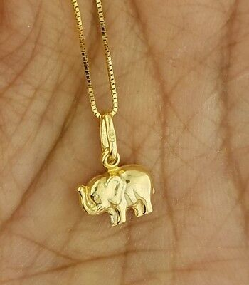 Solid 10K Yellow Gold Mini Small Baby Elephant Charm Pendant  ()