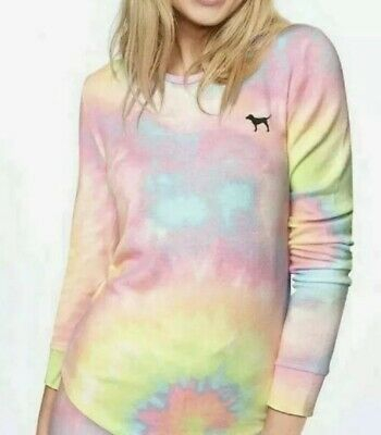Victoria's Secret PINK COZY SLEEP Tee Shirt Top Tie Dye Rainbow Neon Multicolor Rainbow Jersey Tie