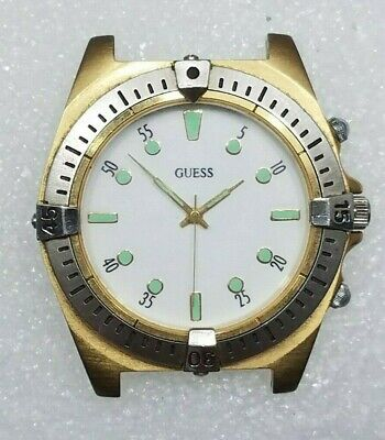 Vintage Guess Large Two Tone Silver & Gold Divers Watch White Face - New Battery