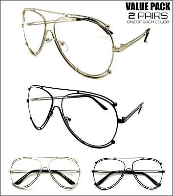 2 Pairs CLASSIC EXAGGERATED 80s RETRO Style Clear Lens EYE GLASSES Fashion (Hip Hop Sunglasses Wholesale)