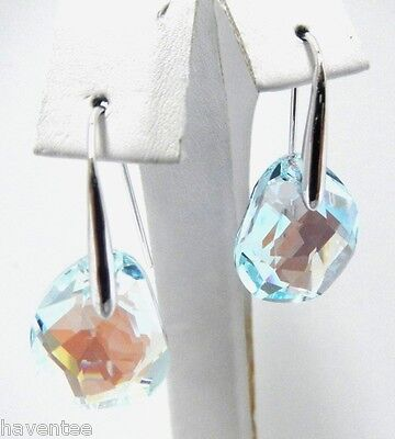 GALET LIGHT AZORE BLUE PIERCED EARRINGS SWAROVSKI CRYSTAL JEWELRY   #949740