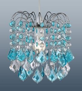 Turquoise Blue Acrylic Crystal Pear Drops Chandelier