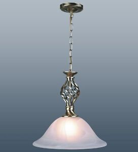 TRADITIONAL-BARLEY-TWIST-ANTIQUE-BRASS-MURANO-GLASS-SHADE-CEILING-LIGHT-PENDANT